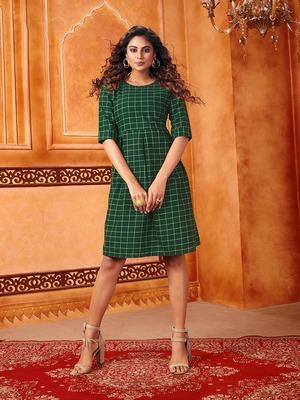 Dark-green woven cotton cotton-kurtis