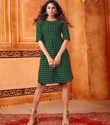 Dark-green woven cotton cotton-kurtis