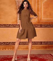Dark-mustard woven cotton cotton-kurtis