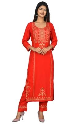 KAAJH Red Rayon Gold Printed Kurta Pant Set