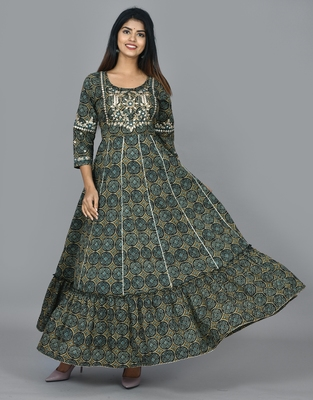 Green cotton embellished long anarkali dress