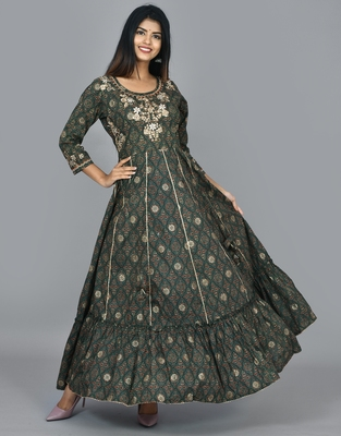Green cotton embroidered long anarkali dress