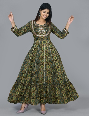Green cotton embellished long anarkali dress