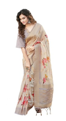 Lavender printed linen saree with blouse