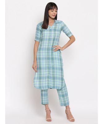 Blue printed checks coton kurti with matching trouser
