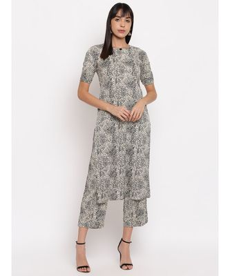 Crepe animal print kurti paired with matching trousers