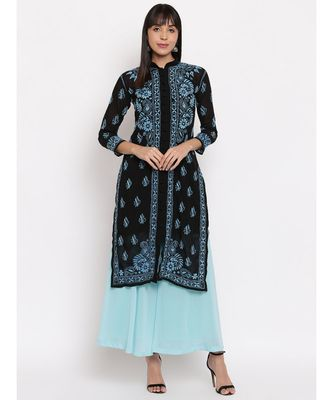 Black chikankari kurti with Blue Chikankari Thread Work