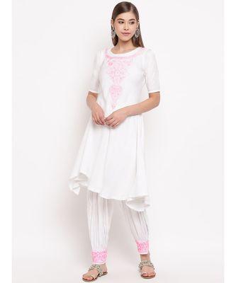 White chikankari a-line  kurti with pink thread work paired with designer salwars