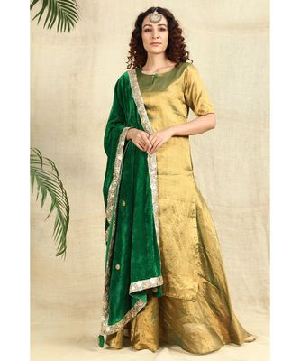 Golden Kurti and Skirt paired with Velvet Green Dupatta