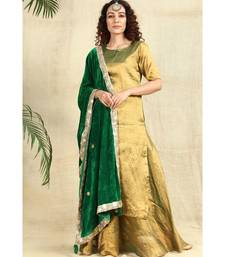 Golden Kurti and Skirt paired with Velvet Green Dupatta