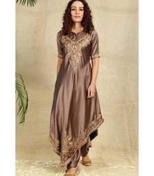 Bronze Color Chikankari Kurti with golden Resham Thread Work paired with Dhoti
