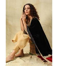 Beige Art Silk Kurti with Mukaish Work paired with Trousers and velvet black/red dupatta
