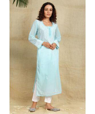 Blue chikankari georgette kurti with white thread work