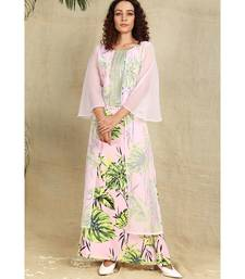 Pink georgette shrug with creap floral gown