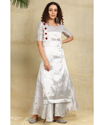 Silver cotton tissue kurti and flared palazzo emblished with red velvet buttons lining all over