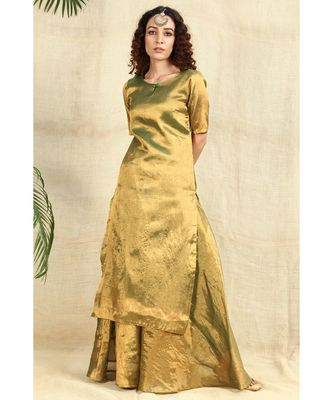 Gold cotton tissue kurti with skirt lining all over