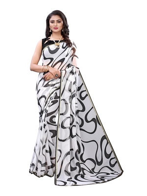 White printed chiffon saree with blouse