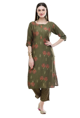 WOMEN STRAIGHT PRINTED MUSLIN KURTA WITH PANT(MANHDI)