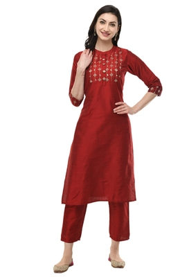 WOMEN STRAIGHT EMBROIDERY SILK KURTA WITH SOLID SILK PANT(MAROON)