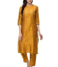 WOMEN STRAIGHT EMBROIDERY SILK KURTA WITH SOLID PANT(MUSTARD)