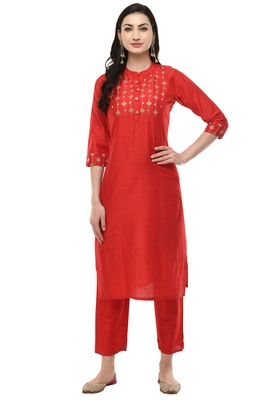 WOMEN STRAIGHT EMBROIDERY SILK KURTA WITH SOLID PANT(RED)