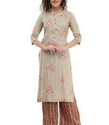 WOMEN STRAIGHT PRINTED RAYON KURTA WITH PALAZZO(CREAM)