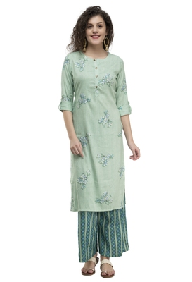 WOMEN STRAIGHT PRINTED RAYON KURTA WITH PALAZZO(GREEN)