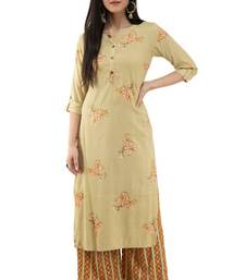 WOMEN STRAIGHT PRINTED RAYON KURTA WITH PALAZZO(MUSTARD)