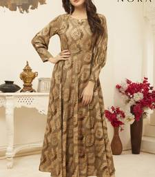 Navraj Fashion Women's Brown & Beige Flared Foil Printed Gown Style Kurti