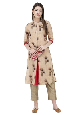 WOMEN A-LINE PRINTED KURTA WITH SOLID PANT(MULTI)