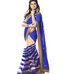 Buy Blue embroidered georgette saree with blouse net-saree online