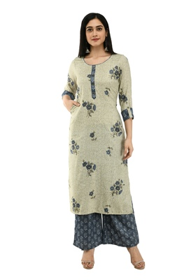 WOMEN STRAIGHT FLORAL PRINTED RAYON KURTA WITH FLORAL PALAZZO(LIGHT GREEN)