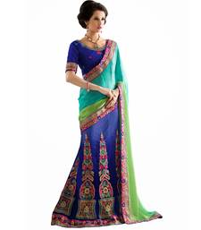 Buy Blue embroidered jacquard saree with blouse mehendi-ceremony-dress online