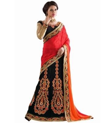 Black embroidered jacquard Lehenga saree with blouse