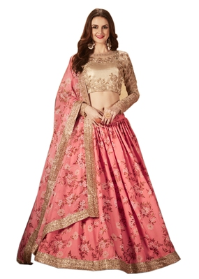 Pink embroidered organza semi stitched floral lehenga