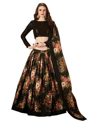 Black embroidered organza semi stitched floral lehenga