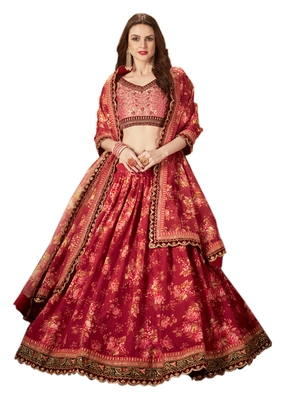 Maroon embroidered organza semi stitched floral lehenga
