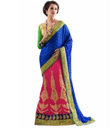 Buy Blue embroidered jacquard saree with blouse lehenga-saree online