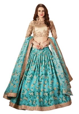 Sky-blue embroidered organza semi stitched Wedding Lehenga for Bridal