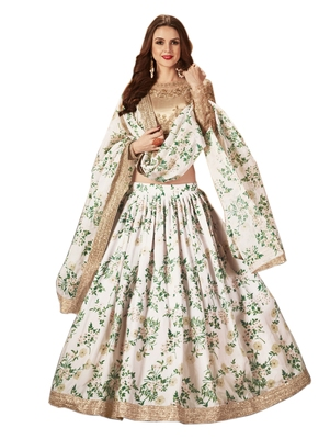 Off-white embroidered organza semi stitched floral lehenga