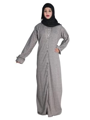 Beige embroidered denim abaya