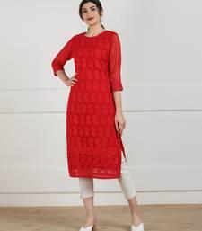Red embroidered georgette chikankari-kurtis