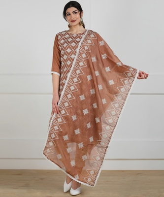Light-brown embroidered synthetic salwar