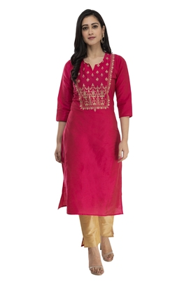 LAGI WOMEN STRAIGHT FLORAL EMBROIDERY SILK KURTA (RK2164A)