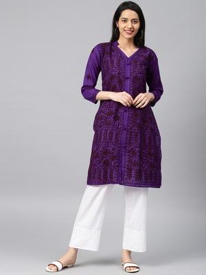 Purple embroidered cotton embroidered-kurtis