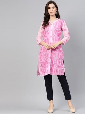 Dark-pink embroidered cotton embroidered-kurtis
