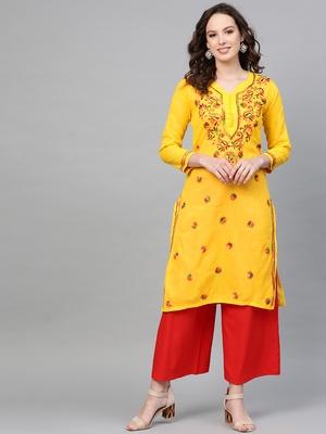 Mustard hand woven cotton chikankari-kurtis