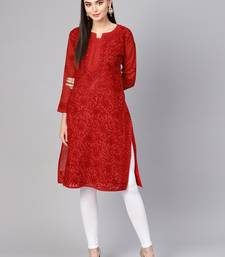 Red embroidered cotton embroidered-kurtis