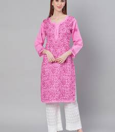 Pink embroidered cotton embroidered-kurtis