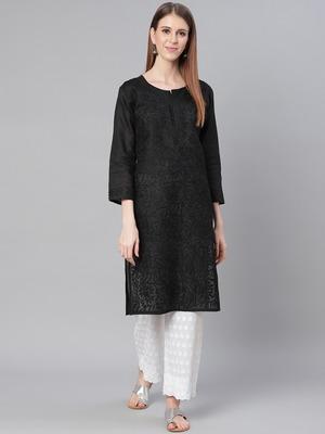 Black embroidered cotton embroidered-kurtis